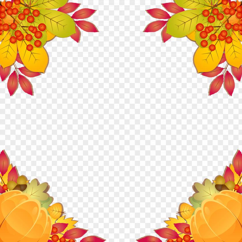 Fall Frame Border Clipart Image Autumn Leaf Color Clip Art PNG
