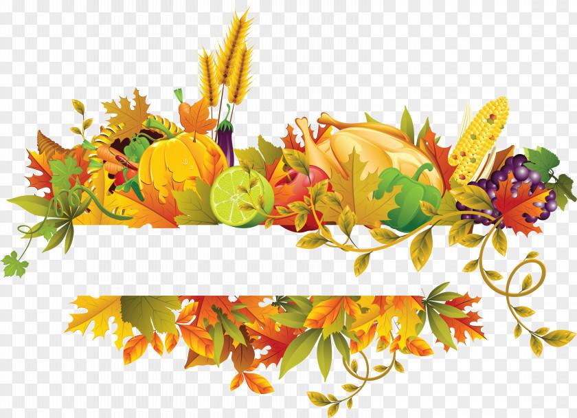 Fall Flowers Fruit Border Thanksgiving Clip Art PNG