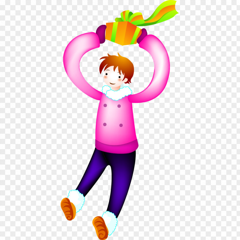 Boy Holding A Gift Clip Art PNG