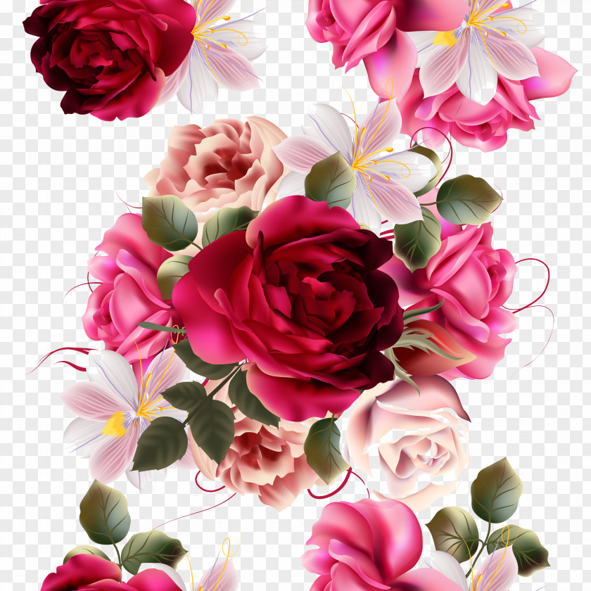 Beautiful Flowers Vector Material Painting Plant Rose Flower Photography PNG
