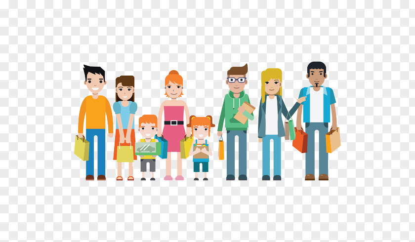 Consumer Rights Go To The Whole Family Shopping Together Art Illustration PNG